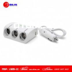Ổ chia 3 & USB L916-NT – Trắng cho xe ô tô