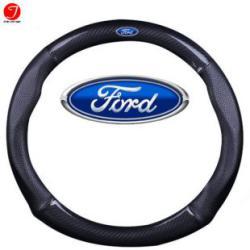 Bọc vô lăng ô tô Ford | Sợi cacbon da màu đen gắn logo (LOẠI 1)