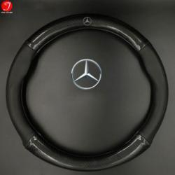 Bọc vô lăng ô tô Mercedes | Sợi cacbon da màu đen gắn logo (LOẠI 1)